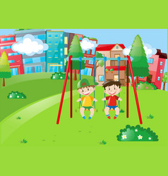 two boys playing on swings in the park vector image