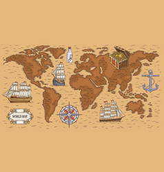 Ancient cartoon world map with sea ships and vector