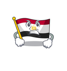 Angry flag egypt folded in mascot cupboard vector