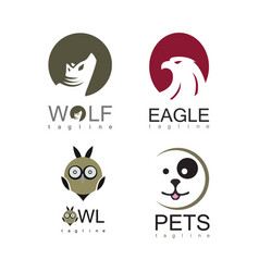 animal logo set vector image