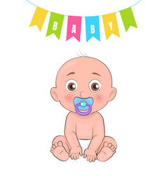 baby boy poster of newborn infant pacifier vector image