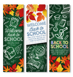 back to school education chalkboard banners vector image