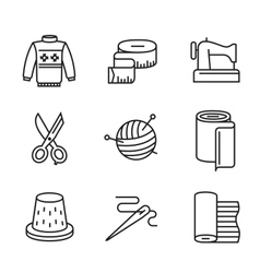 black flat sewing and needlework vector image