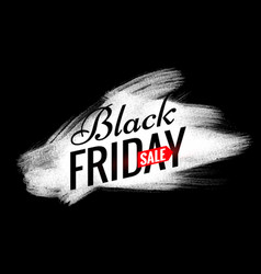 black friday sale design with white paint brush vector image