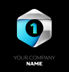 blue number one logo in the silver-blue hexagonal vector image
