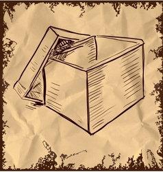 Box isolated on vintage background vector image