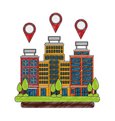 buildings hotel with trees plant and pin location vector image