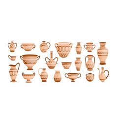 bundle ancient greek pottery isolated on white vector image