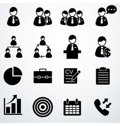 Business icons set black vector