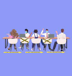 businesspeople sitting at round table keeping vector image