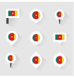 cameroon flag and pins for infographic and map vector image
