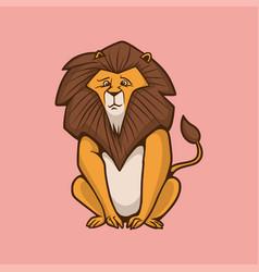 Cartoon animal design a sitting lion cute mascot vector