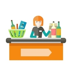 Cashier Behind the Store Counter vector