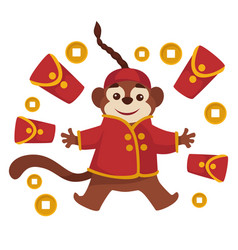 chinese new year monkey in clothing red vector image