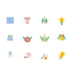 Christmas events symbols flat color icons vector image