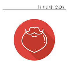 christmas santa claus beard thin line icon new vector image