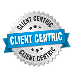 Client centric round isolated silver badge vector