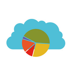 cloud statistics colorful silhouette on white vector image