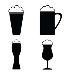 Collection of beer glass icons and vector