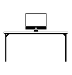 Contour wood desk object with computer technolgy vector