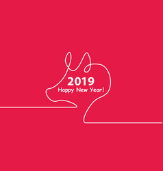 Creative happy new year 2019 design with one line vector