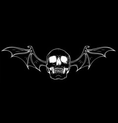 Demon skull with bat wings in black background vector