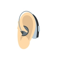 Ear with hearing aid icon flat style vector image