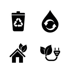 ecology eco simple related icons vector image