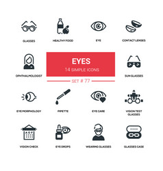 Eyes - line design silhouette icons set vector