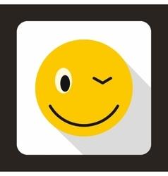 Eyewink emoticon icon flat style vector image