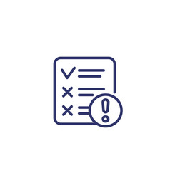 failed test line icon on white vector image