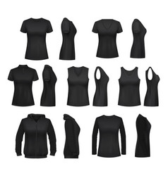 Female clothes isolated mockups t-shirt vector