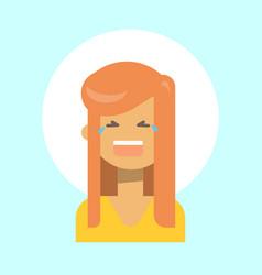 female cry emotion profile icon woman cartoon vector image