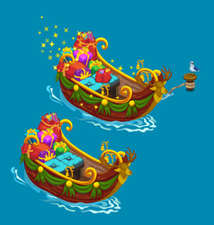 Festively decorated boat with christmas presents vector