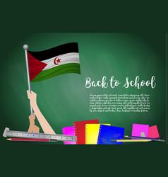 Flag of western sahara on black chalkboard vector