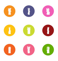 Flare icons set flat style vector
