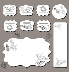 Floral templates with black roses sweet peas vector