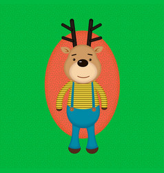 funny cartoon reindeer in striped shirt vector image