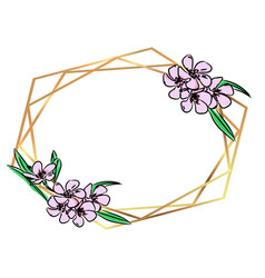 Gold polygonal modern frame vector