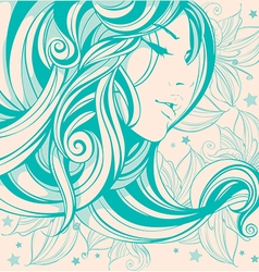graphic drawing face girl hair long curls vector image