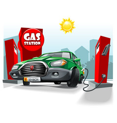 Green cartoon car stay on gas station and fill vector