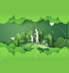 Green city with family vector