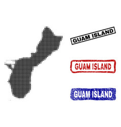 Guam island map in halftone dot style with grunge vector