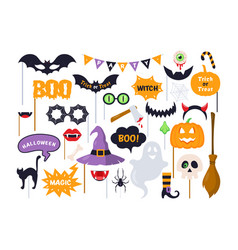 halloween photo booth props vector image
