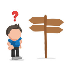 Hand-drawn cartoon of confused lost man standing vector