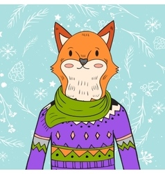 hand drawn fox portrait vector image