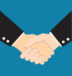 handshake on blue background business partners vector image