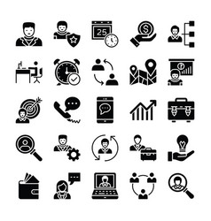Human resources glyphs icons 2 vector