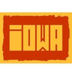 Iowa state name vector image