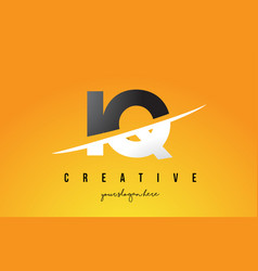 Iq i q letter modern logo design with yellow vector